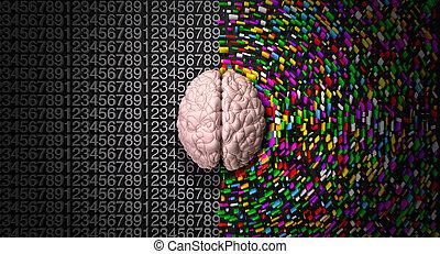 side., droit, coloré, esprit, dispersé, structuré, logique, créatif, analytique, cerveau, dépeindre, gauche, côté, typique