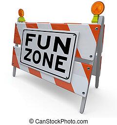 signe, construction, amusement, zone cour, barricade, gosses