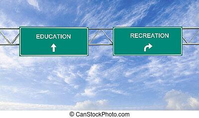 signe, education, route, récréation