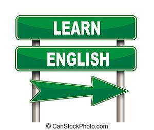 signe, vert, apprendre, route, anglaise