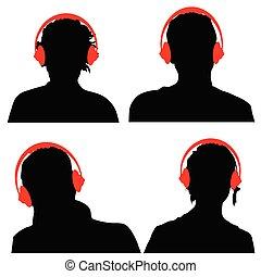 silhouette, écouteurs, noir, gens