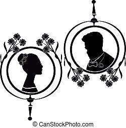 silhouette, 6, mariage, flourishes