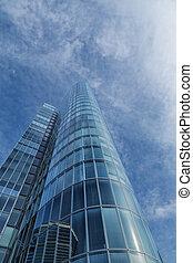 silhouette, bureau, sky., moderne, verre, dramatique, gratte-ciel, bâtiment.