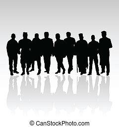 silhouette, couleur, vecteur, noir, groupe, homme