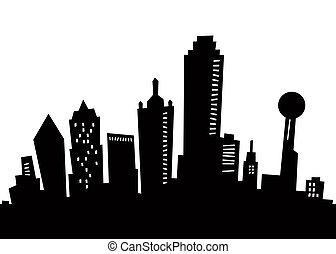silhouette, dessin animé, dallas