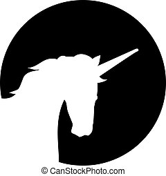 silhouette, devant, lune, tête, licorne