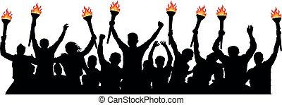 silhouette, foule, gens, isolé, vecteur, torches.