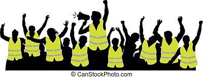 silhouette, foule, gens, vests., jaune, protestation, vecteur, mouvement