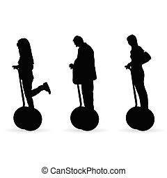 silhouette, gens colorent, mouvement, illustration, noir