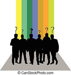 silhouette, gens colorent, point interrogation, vecteur