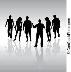 silhouette, gens, vecteur, amis