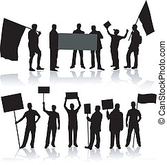 silhouette, -, noir, demonstartion, gens