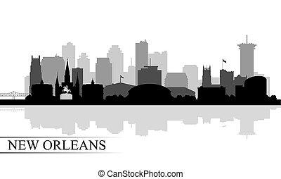 silhouette, nouvelle-orléans, fond, horizon ville