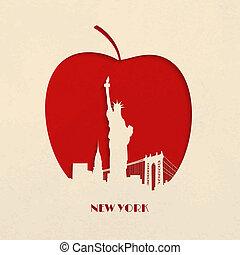 silhouette, pomme, grand, coupure, york, nouveau