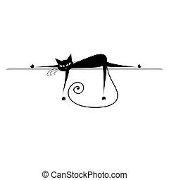 silhouette, relax., chat, noir, conception, ton