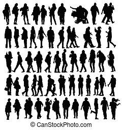 silhouette, vecteur, ensemble, gens
