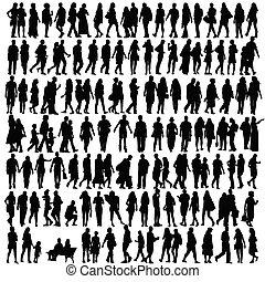 silhouette, vecteur, noir, gens
