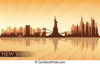 silhouette, ville, york, nouveau, détaillé, horizon
