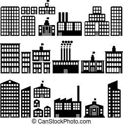silhouettes, bâtiment