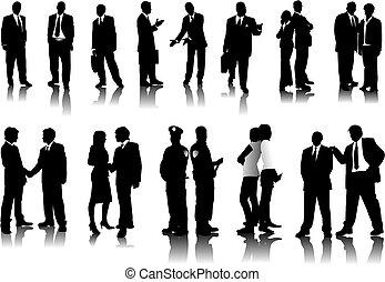 silhouettes, gens bureau