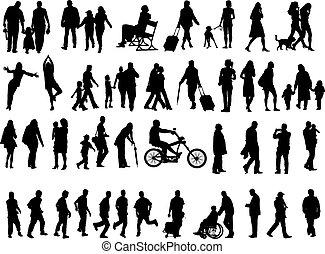 silhouettes, gens, sur, 50