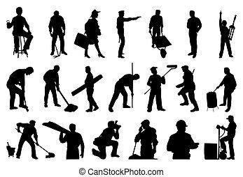 silhouettes, gens., vecteur, illustration, fonctionnement