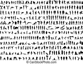 silhouettes, humain, centaines