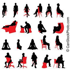 silhouettes, séance, gens