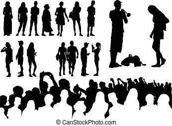 silhouettes, sur, cinquante