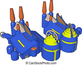 simlpe, construction bleu, usine, illustratior, vecteur, fond, blanc