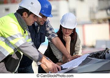 site construction, équipe