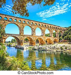 site., unesco, gard, pont, romain, languedoc, aqueduc, france., du