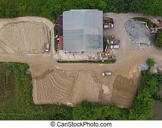 site, vue, construction, aérien