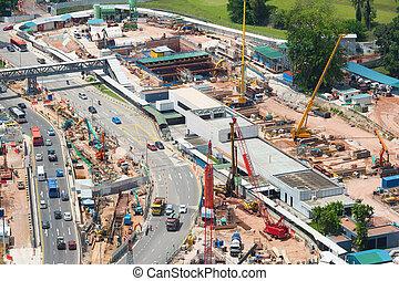 site., vue., construction, aérien, singapour