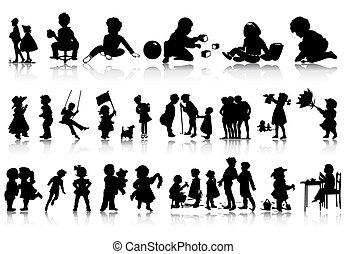 situations., illustration, silhouettes, vecteur, divers, enfants