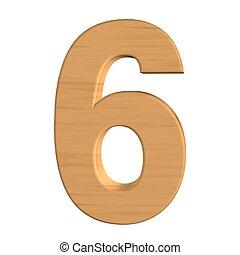 six, nombre, isolé, bois, fond, nouveau, blanc