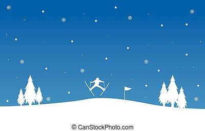 ski, silhouette, paysage hiver, gens