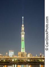 skytree, tour, tokyo, crépuscule