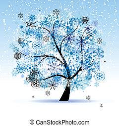snowflakes., arbre, holiday., hiver, noël