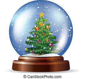snowglobe, arbre, noël