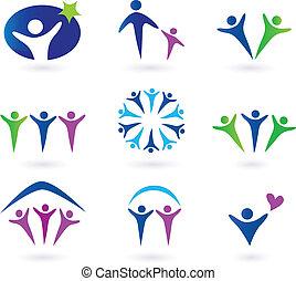 social, communauté, réseau, icônes