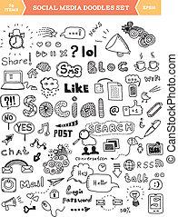 social, média, éléments, ensemble, griffonnage
