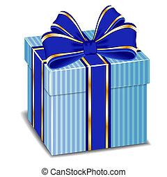soie bleue, cadeau, vecteur, arc, boîte
