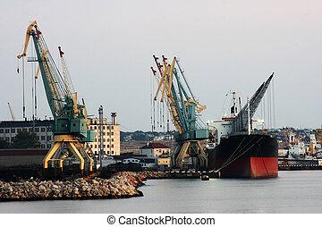 soir, mer noire, port, sevastopol
