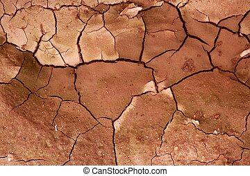 sol, texture, séché, fond, argile, toqué, rouges