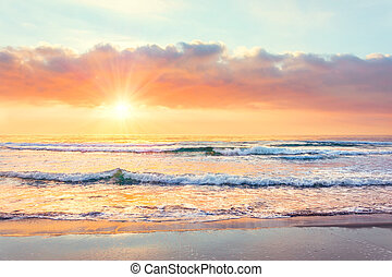 soleil, océan, temps, coucher soleil, vague, plage, rays.