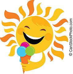 soleil, sourire, manger, glace