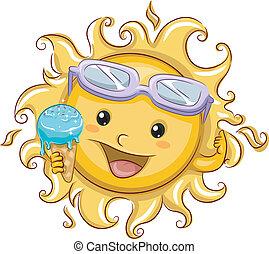 soleil, tenue, glace