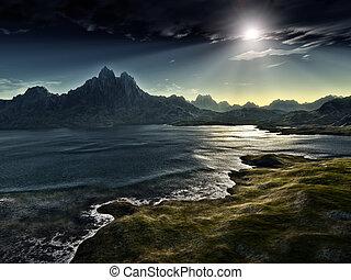 sombre, fantasme, paysage