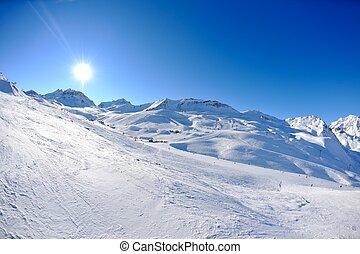 sous, élevé, neige, hiver, montagnes